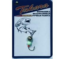 Мормышка Дробинка с петелькой, зелен.флюр. шарик на крючке 1,15г D5 GO