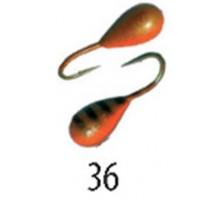 Мормышка W Spider Капля с отверст. краш. 5,0 мм 1,65 гр. 36